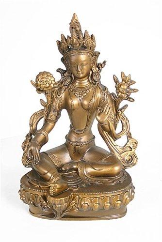 Green Tara Buddhist Statue, Bronze Color, 11 Inches