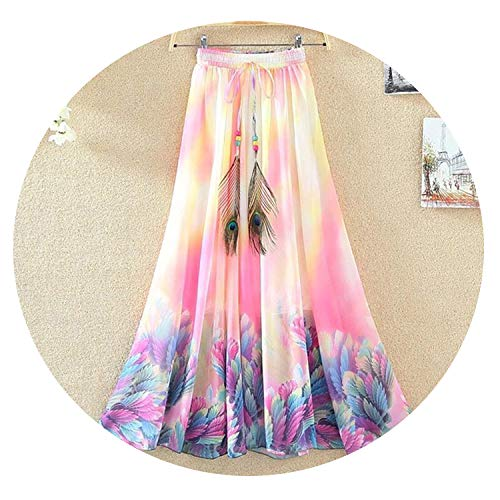 Vintage Skirts Women Print Boho ChiffonSummer Tulle Casual Bohemian Long Skirts Woman Clothing,One Size