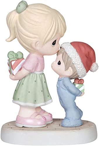 Precious Moments Girl Kissing Boy Figurine – Christmas Gift Home Decoration 141015-PM