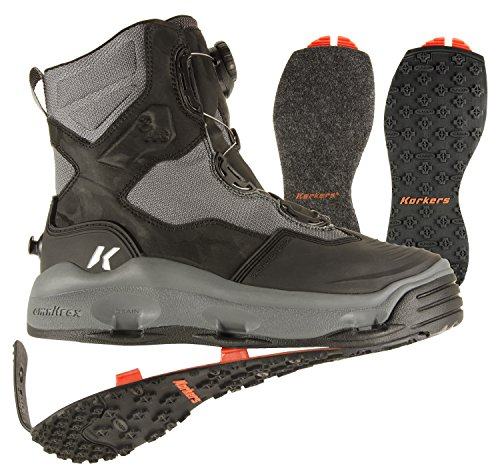 Korkers Mens Darkhorse Fishing Boots with Kling-On, Color: Black/Gunmetal, Size: 12 (FB4710-12)