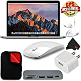 Apple 13.3 MacBook Pro (Mid 2017, Space Gray) MPXT2LL/A + MicroFiber Cloth + 2.4 GHz Slim Optical Wireless Bluetooth + Travel USB 5V Wall Charger for iPhone/iPad (White) + Type-C USB 3.0 HUB Bundle