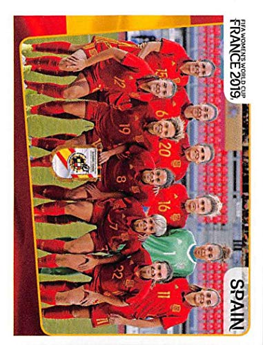 2019 Panini FIFA Women's World Cup France Sticker #139 Spain Team Photo Spain Mini (Small) Sticker Trading Card