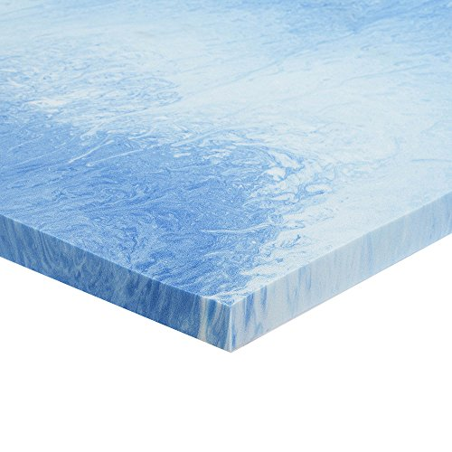 Sleep Innovations 2.5-inch Gel Memory Foam Mattress Topper with 100% Cotton Cover, Made in The USA with a 10-Year Warranty - Queen ()