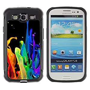 Hybrid Anti-Shock Defend Case for Samsung Galaxy S3 / Abstract Color Splash