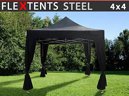 Dancover Carpa Plegable Carpa Rapida FleXtents Steel 4x4m Negro, Incl. 4 Cortinas Decorativas: Amazon.es: Jardín