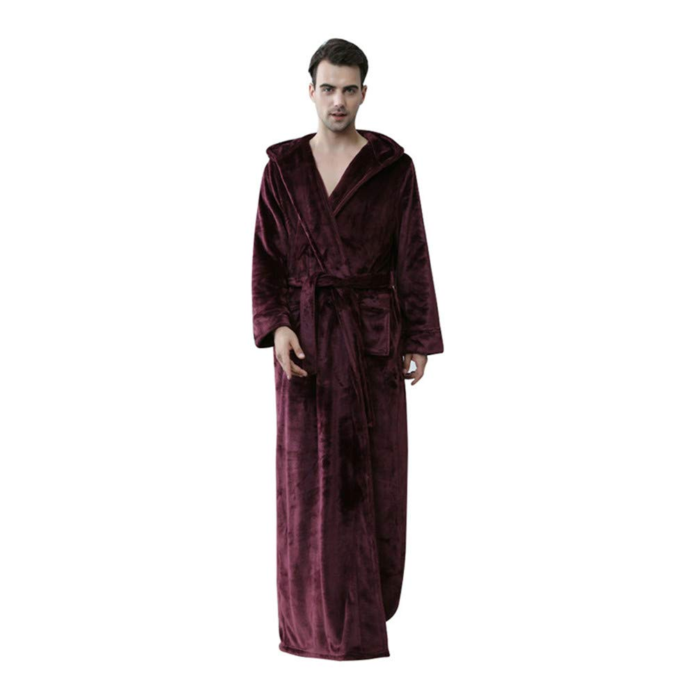 Women Men Hooded Robe Luxurious Flannel Fleece Long Bath Robe RTWAY
