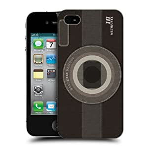 Head Case Designs Black Camera Patches Protective Snap-on Hard Back Case Cover for Apple iPhone 4 4S
