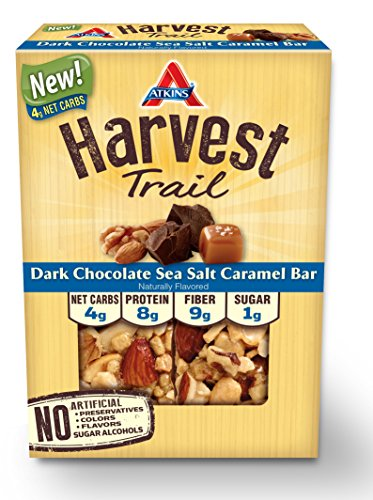 Atkins Harvest Trail Bars, Dark Chocolate Sea Salt Caramel, Gluten Free, 5 Count