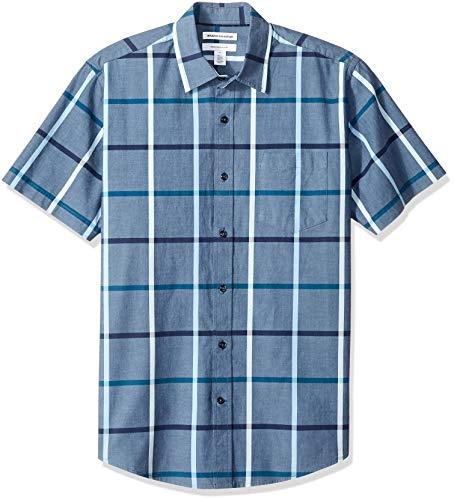 Amazon Essentials Men's Regular-Fit Short-Sleeve Casual Poplin Shirt, Denim Large, ()