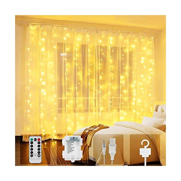 Tenda Luci LED, 300 LEDs Tenda luminosa 3x3m Natale Tenda Luci,Tenda luminosa Luci Cascata Impermeabile 8 Modalità Dimmerabile per Decorare Interni e Esterni Salotto Natale Matrimonio 1 spesavip