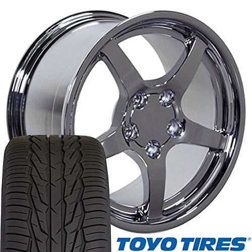 OE Wheels 17 Inch Fit Corvette Camaro CV05 C5 Style Deep Dish Chrome 17x9.5 Rims Toyo Extensa Tires SET ()