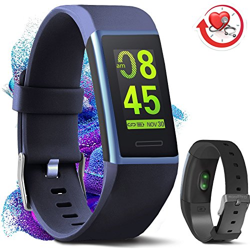 Core Screen - MorePro X-Core Fitness Tracker HR, Waterproof Color Screen Activity Tracker with Heart Rate Blood Pressure Monitor, Smart Wristband Pedometer Watch with Step Calories Counter, Blue