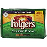 Folgers Classic Roast Decaffeinated Ground Coffee, 11.3 Ounce Refill Packs (Pack of 6)