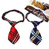 """Alfie Pet by Petoga Couture - Set of 2 Qun Formal Dog Tie and Adjustable Collar - Neck Size: 12"""" - 16"""" for Dogs and Cats"""