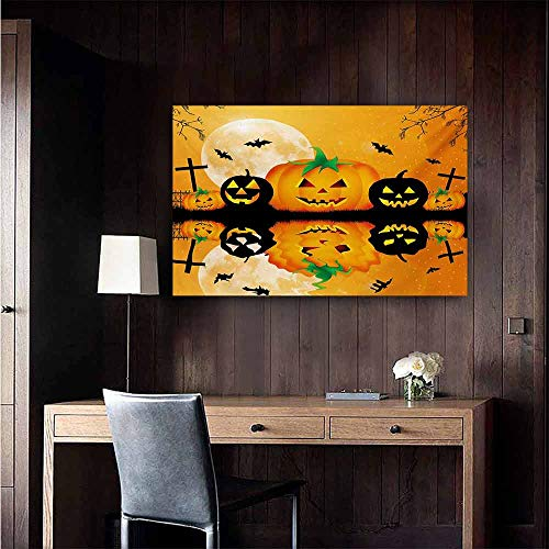 duommhome Halloween Modern Oil Paintings Spooky Carved Halloween Jack o Lantern and Full Moon with Bats and Grave Lake Canvas Wall Art 32