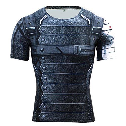 PKAWAY Mens Winter Soldier Compression Running Shirt Short Sleeve Workouts Tee M