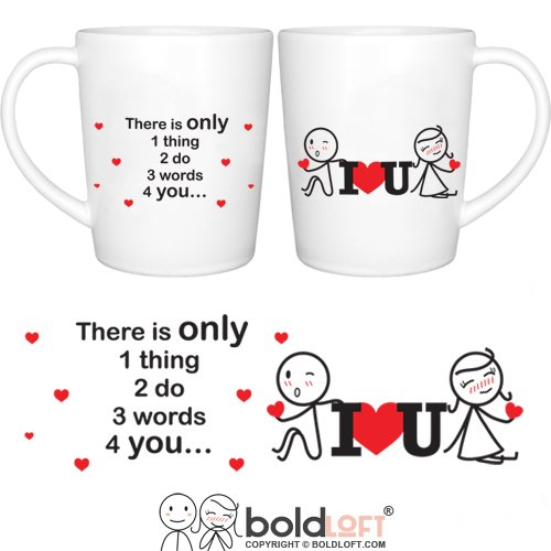 BOLDLOFT 3 Words for You Couple Coffee Mugs|Couple Gifts for Him and Her|Boyfriend Gifts for Christmas Anniversary Valentines Day|Love Gifts for Girlfriend Boyfriend Husband Wife|Romantic Love Gifts Christmas Wishes Quotes For Best Friends