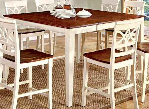 Furniture of America Cherrine Country Style Pub Dining Table, Oak/Vintage - Style Pub Country