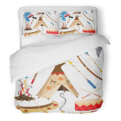 Semtomn Decor Duvet Cover Set King Size Cowboy American Indian Clipart and White Teepee Arrowhead Drum 3 Piece Brushed Microfiber Fabric Print Bedding Set Cover