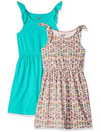 Amazon Brand - Spotted Zebra Girls' Toddler & Kid 2-Pack Knit Sleeveless Knot Shoulder Dresses