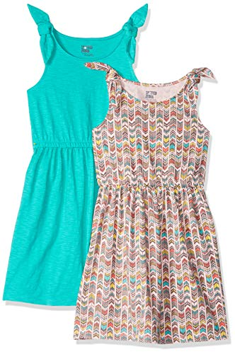 Spotted Zebra Big Girls' 2-Pack Knit Sleeveless Knot Shoulder Dresses, Chevron, Medium (8) -