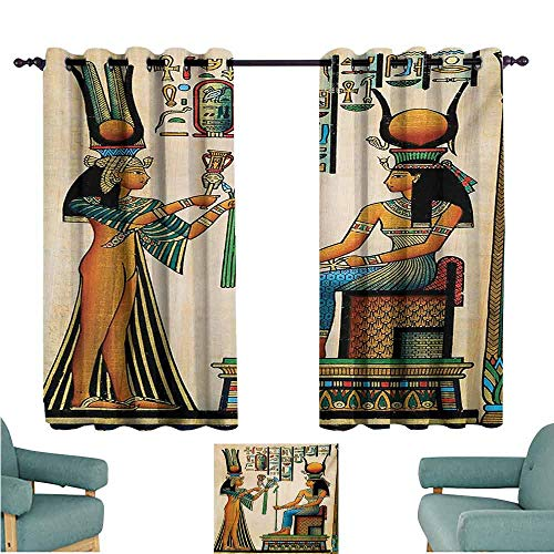 DONEECKL Decorative Curtains for Living Room Egyptian Old Egyptian Papyrus Depicting Queen Nefertari with Historical Empire Artwork Noise Reducing Curtain W63 xL63 Multicolor]()