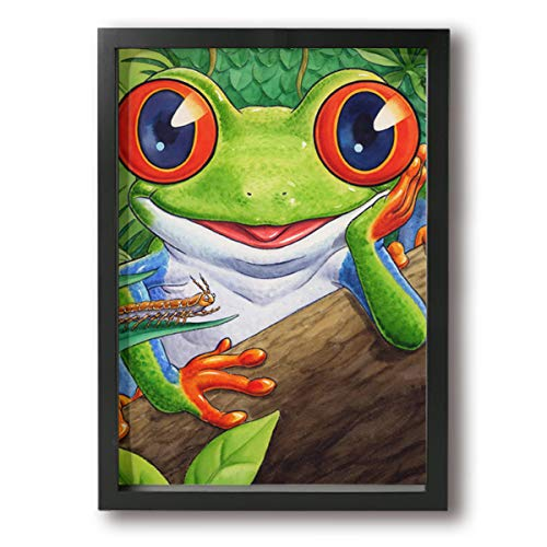 customgogo Wall Art Painting Hidden Framed Frog Canvas Print Paintings Home Decoration Art for Home Wall Modern Decoration Print Decor for Living Room