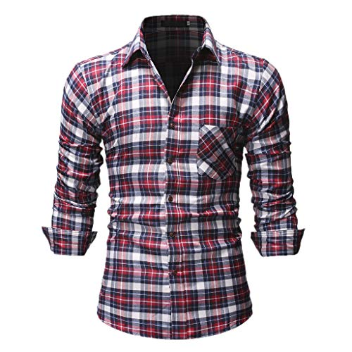 Shirt Casual Printing Pattern Button Down Casual Normal Plaid Floral Business Long Sleeve Button T-Shirt Top Blouse Men's (XXL,3- Red)]()