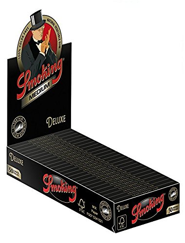 6 Smoking Deluxe Ultra Fine 1 1/4 Cigarette Rolling Papers Packs (50 Leaves/pack) + Beamer Smoke Sticker. For Legal Smoking Herbs, Rolling Tobacco, Herbal Mixes, Rollers, Injectors, Ryo, Myo