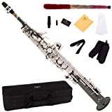 Cecilio 2Series SS-280BNN Black/Nickel Plated and Nickel Plated Keys Straight Bb Soprano Saxophone +Case, Reeds and Accessories