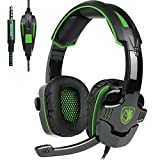 [Newly Updated ] SADES SA930 Multi-Platform Stereo Pro Gaming Headset Over Ear Headphones with Mic Volume-Control for PS4 Xbox One PC Mac Tablets Ipad Ipod Android MP3 MP4 (Green)