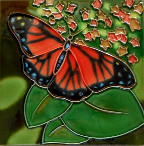 Tile Craft butterfly ceramic art tile 6x6 inch with easel back