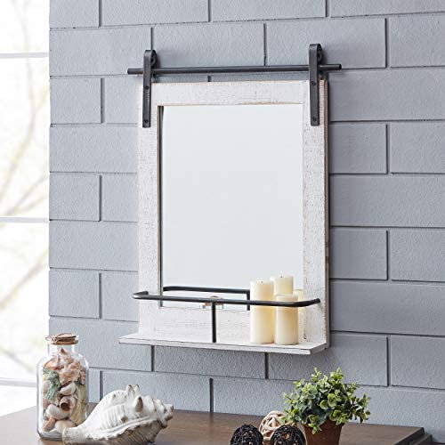 FirsTime Co. Ivywood Barn Door Shelf Wall Mirror, 25 H x 20 W, Rustic White, Aged Black