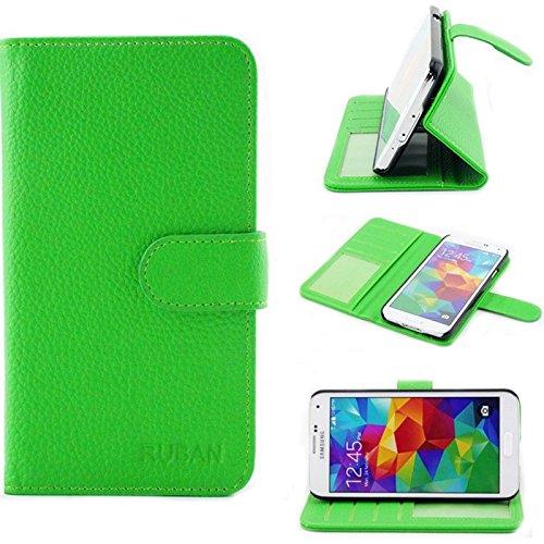 Samsung Galaxy S5 Case, Galaxy S5 Flip Case - Ruban PU Leather Folio Wallet Case Cover for Samsung Galaxy S5 / Galaxy SV/Galaxy S V - Green (Purse Case For Samsung Galaxy S5)