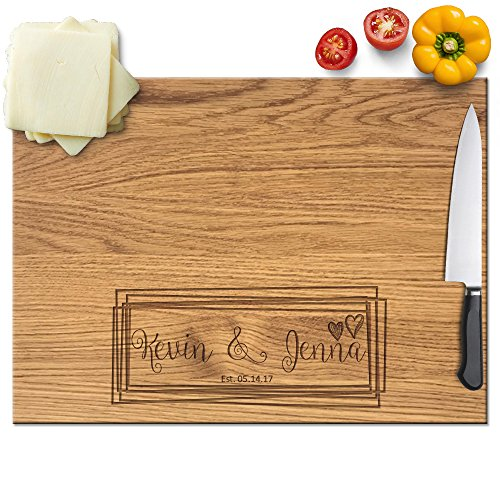 Board Square 12 Cutting (Froolu Overlaping Squares laser engraved cutting board for Monogram Names Anniversary Gifts)