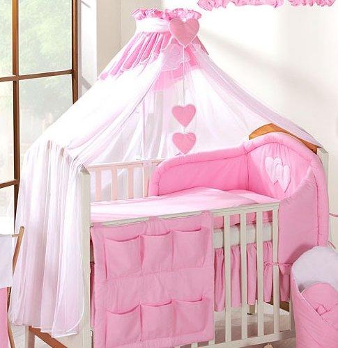 De Luxe bébé Couronne baldaquin drapé/Moustiquaire uniquement Grande 480cm pour lit–Blanc/Rose uni BabyComfort