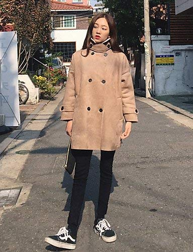 Spesso Fashion Transizione Donna Outerwear Lunghi Khaki Libero Lunga Invernali Huixin Manica Coat Cappotto Bavero Autunno Caldo Cappotto Button Velluto Eleganti Tempo Di Costume Semplicemente xwCcEO4qH