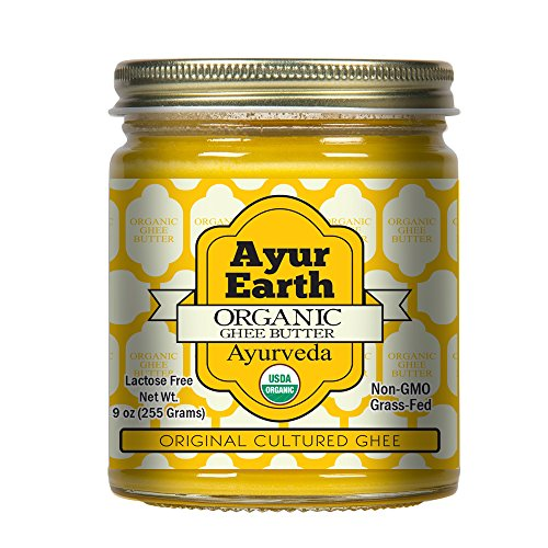 Grass-Fed Organic Ghee Ayurvedic Butter from Pasture Raised Cows, Clarified, Non-GMO, Free of Lactose, Caseins, Antibiotics, Gluten, rBGH, rBST Hormone Free, Keto/Paleo Friendly, Unsalted, 9 Ounce