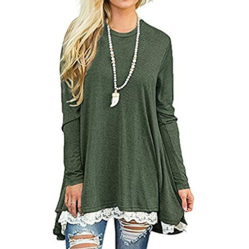 GERGER BO Womens Shirts Tunics Blouses Tops For Women Blouse Tunic Top Long Sleeve Shirt Green,M