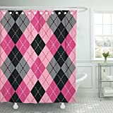 Black and Hot Pink Shower Curtains Emvency Shower Curtain Argyle in Pink and Black Seamlessly Colors are Grouped Waterproof Polyester Fabric 60 x 72 Inches Set with Hooks