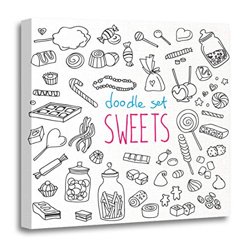 Semtomn Canvas Wall Art Print Sketch of Various Doodles Rough Simple Sweets and Candies Artwork for Home Decor 12 x 12 Inches from Semtomn