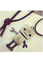 Qi Tian Vintage Robot Shape Leather Long Chain Statement Necklace gift for girl