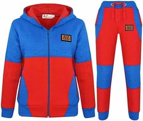 Kids Girls Boys Tracksuit Designer The Power Design Red Top Bottom Jogging Suits
