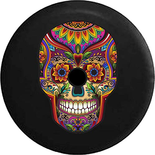 JL Spare Tire Cover Sugar Skull Artistic Heritage Halloween with Backup Camera Hole Black 32 in (Skull Jeep Tire Cover)