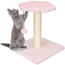 Animals Favorite Cat Scratching Post, Plush Cover and Toys, Spring Hanging Ball