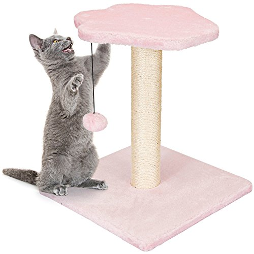 Animals Favorite Cat Condo Perch, Cat Tree with Scratch Post for Small Cats and Kittens (Pink Post)