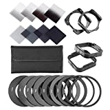Neewer Complete ND Filter Kit for Cokin P Series: (8) ND Filters(Full ND2 ND4 ND8 ND16; Graduated G.ND2 G.ND4 G.N8 G.ND16)+(9) Adapter Rings+(2) Square Filter Holder+(2) Lens Hood+(1) Filter Pouch