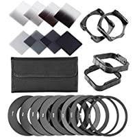Neewer Complete ND Filter Kit for Cokin P Series: (8)ND Filters(Full ND2 ND4 ND8 ND16; Graduated G.ND2 G.ND4 G.N8 G.ND16)+(9)Adapter Rings+(2)Square Filter Holder+(2)Lens Hood+(1)Filter Pouch