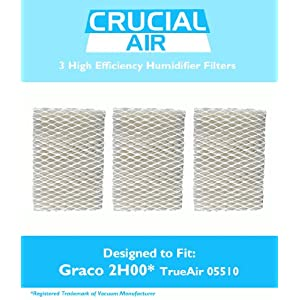 3 Graco 1.5 Gallon Humidifier Filters; Fits Graco 2H00 & TrueAir 05510; Compare to Part # 2H01; Designed & Engineered by Crucial Air
