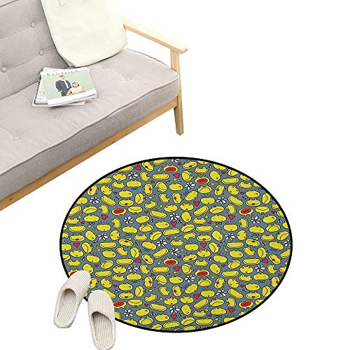 Doodle Round Rug ,Cute Frog Faces Various Expressions Happy Sad Surprised Scared Funny Animal, Flannel Microfiber Non-Slip Soft Absorbent 47